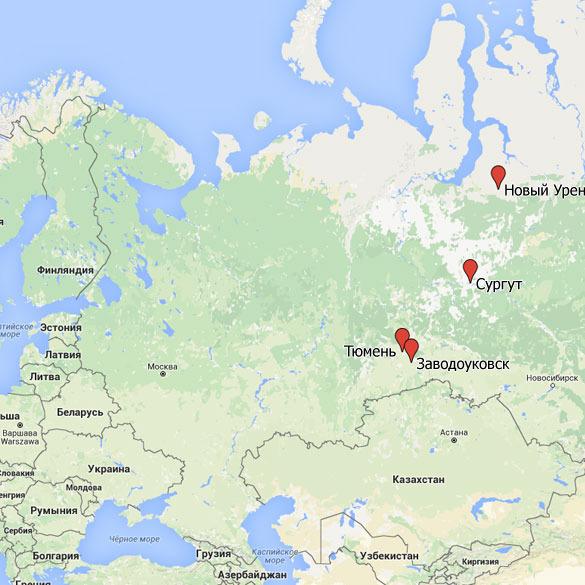 новый уренгой на карте россии карта фото